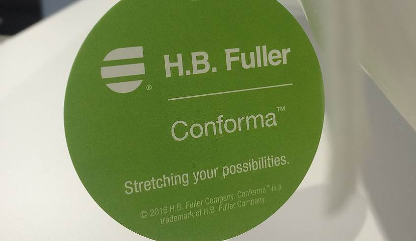 Conforma tag for the nonwoven market representing the many brands of adhesives from H.B. Fuller.